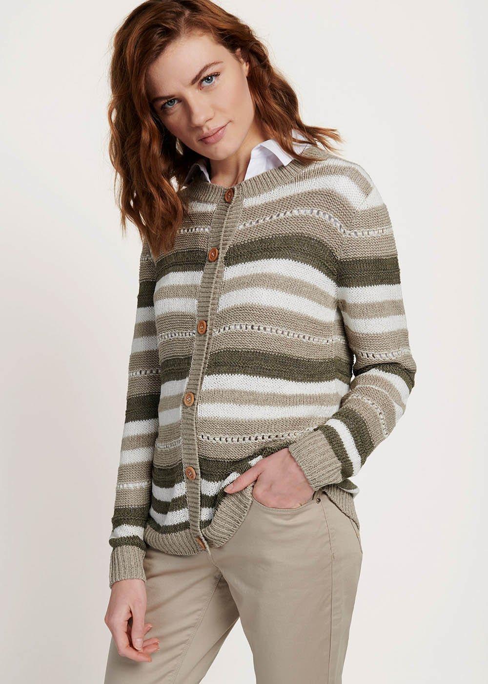 Clair cardigan with multicolour stripes - Timo / Tofu / Stripes - Woman