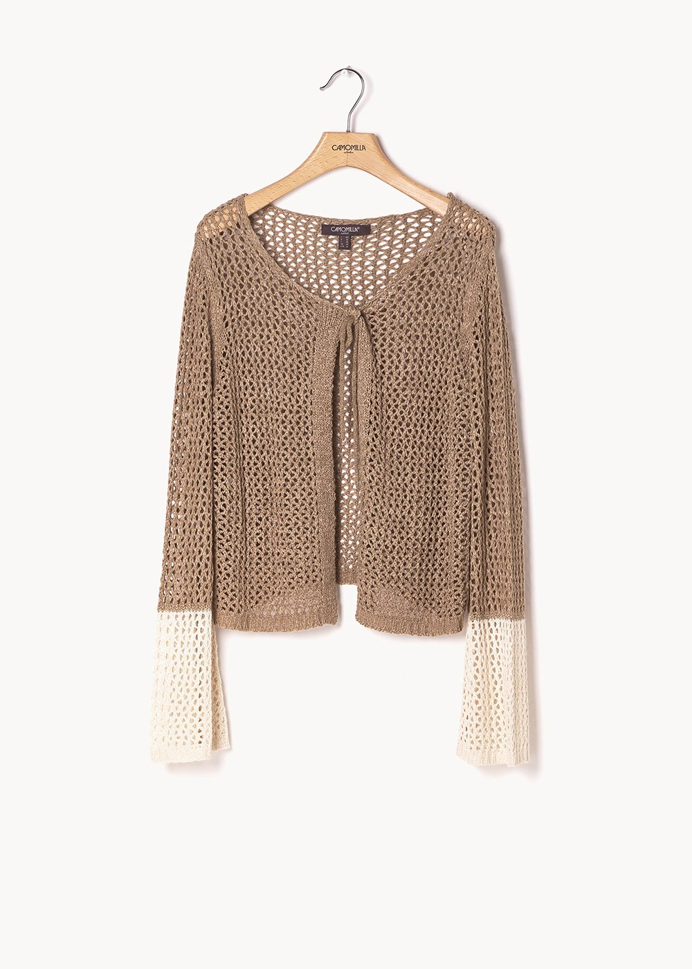 Clayd two-tone shrug with flared sleeve - Desert / L.beige - Woman