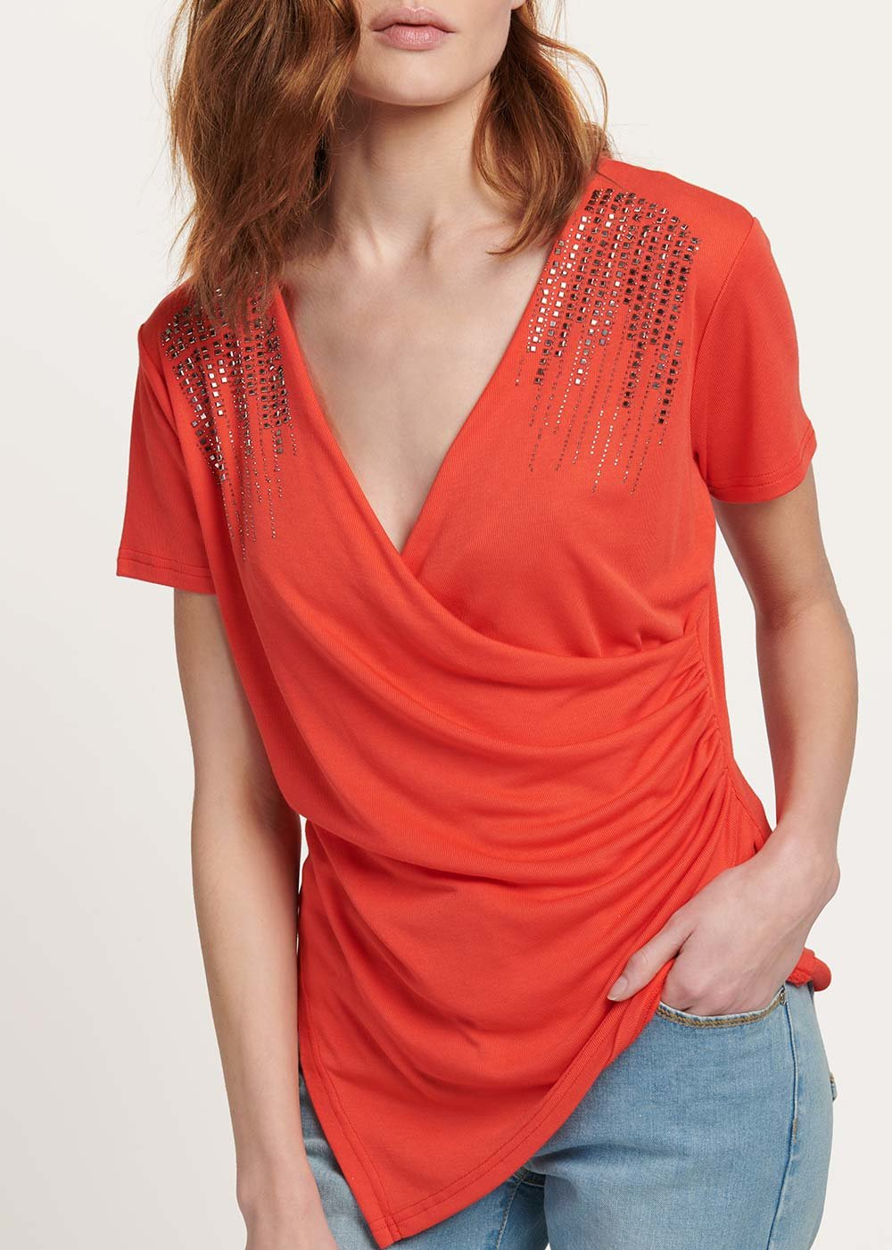 T-shirt Serena con dettagli cristalli - Aragosta - Donna