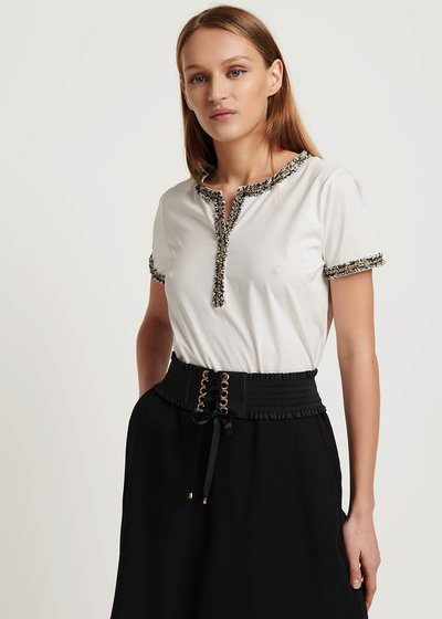 Susy T-shirt with bouclé detail