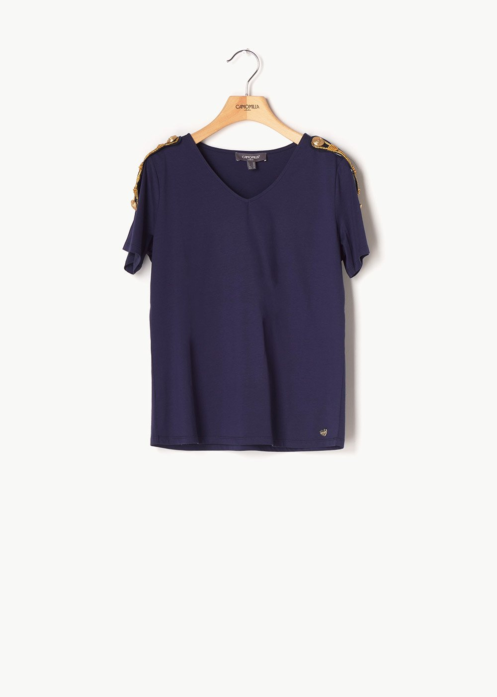 Shanan T-shirt with gold details - Medium Blue - Woman