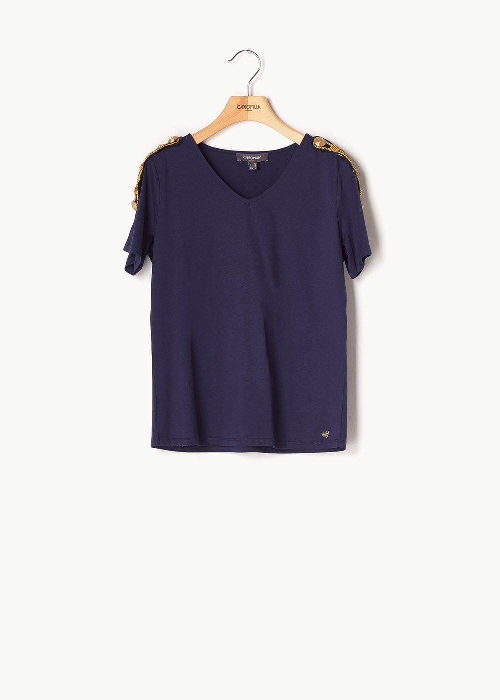 Shanan T-shirt with gold details - Medium Blue - Woman