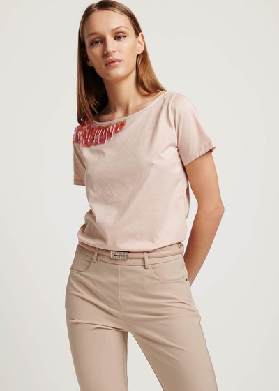 Samira T-shirt with sequin and crystal details