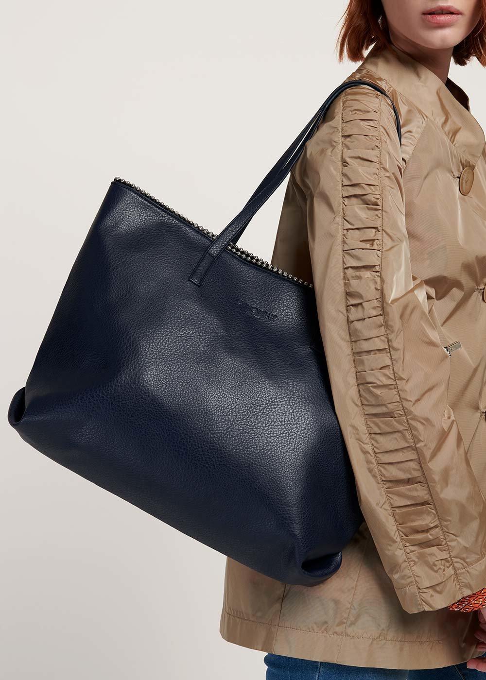 Shopping bag Brook con mini sfere metalliche - Medium Blue - Donna