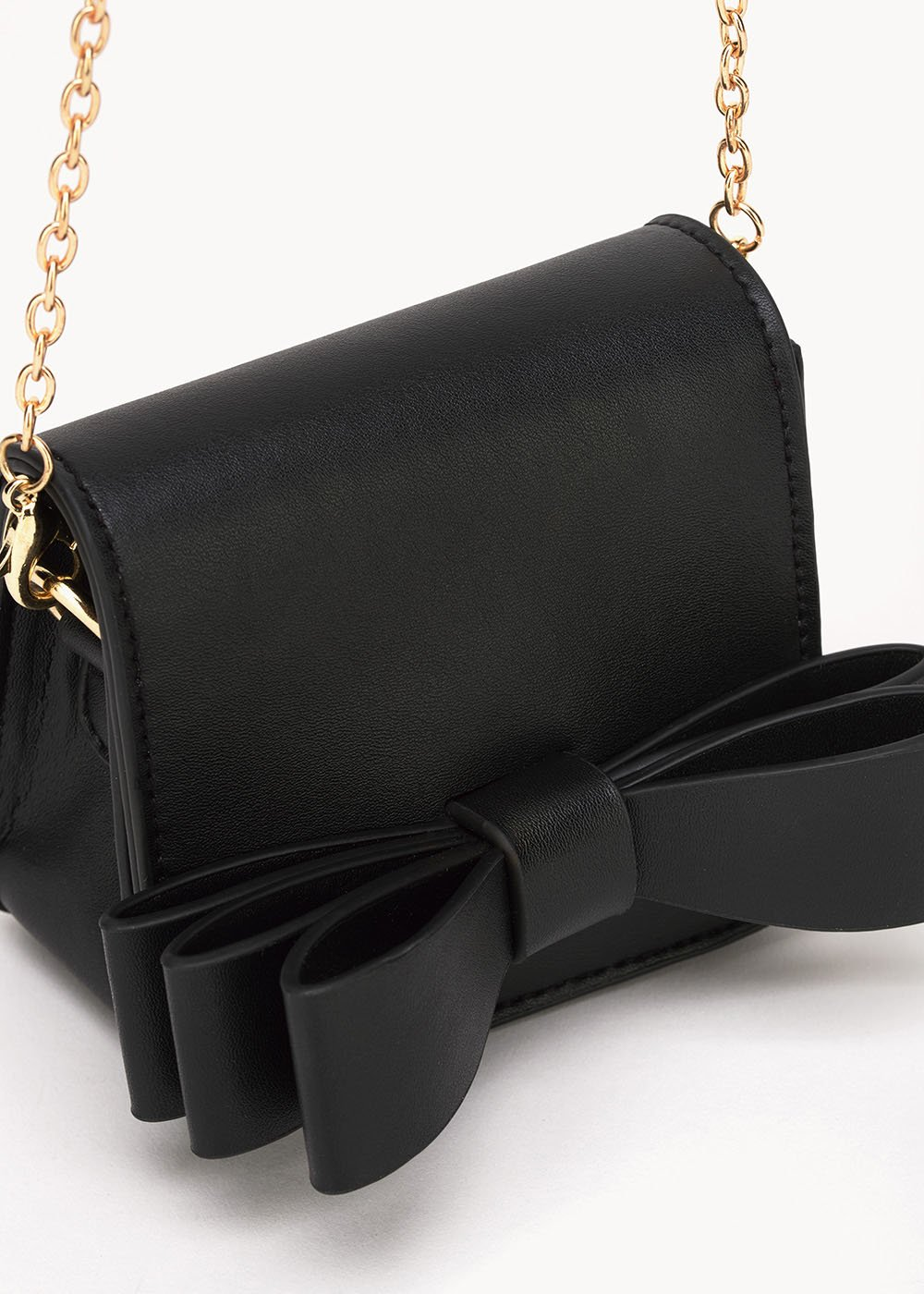 Mini bag Baky con fiocco in ecopelle - Black - Donna
