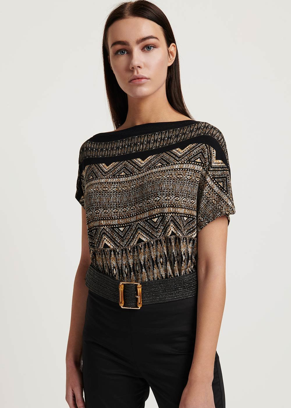 Shin patterned T-shirt - Black /  Cacao /  Fantasia - Woman