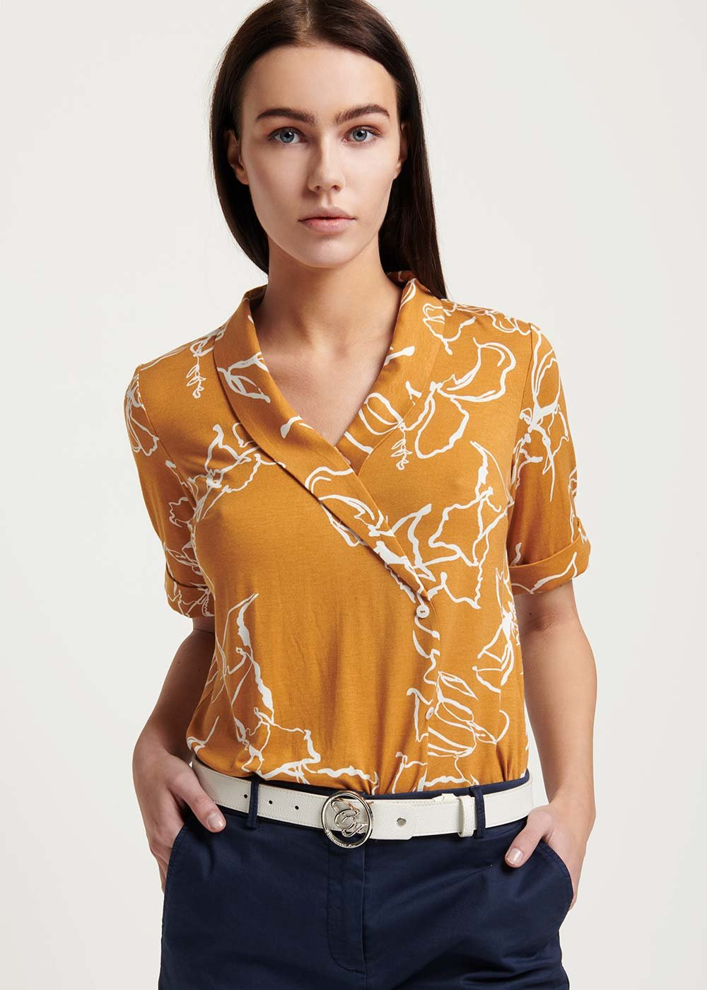 Sakil double-breasted shirt - Curcuma /  White /  Fantasia - Woman