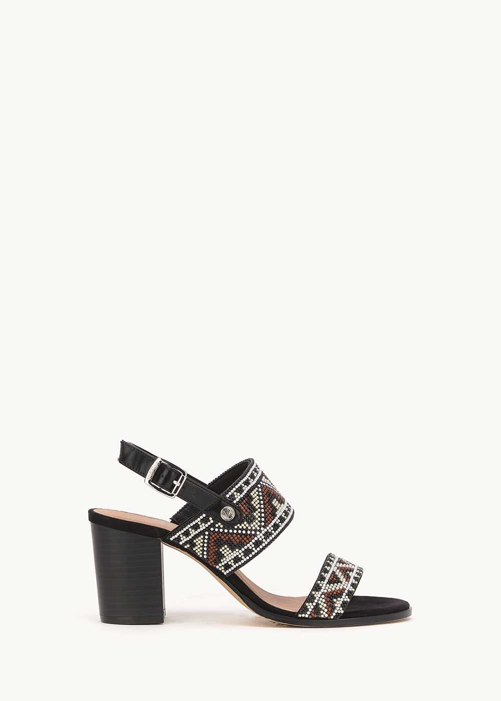 Shyl sandal with aztec motif - Black Fantasia - Woman