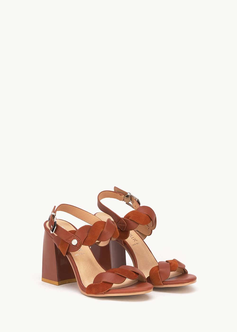 Sadie leather sandal with weave - Pecan - Woman