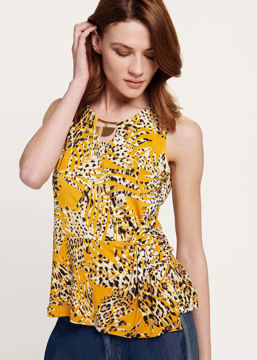 Top Terrie stampa animalier - Curcuma / White /  Animalier - Donna