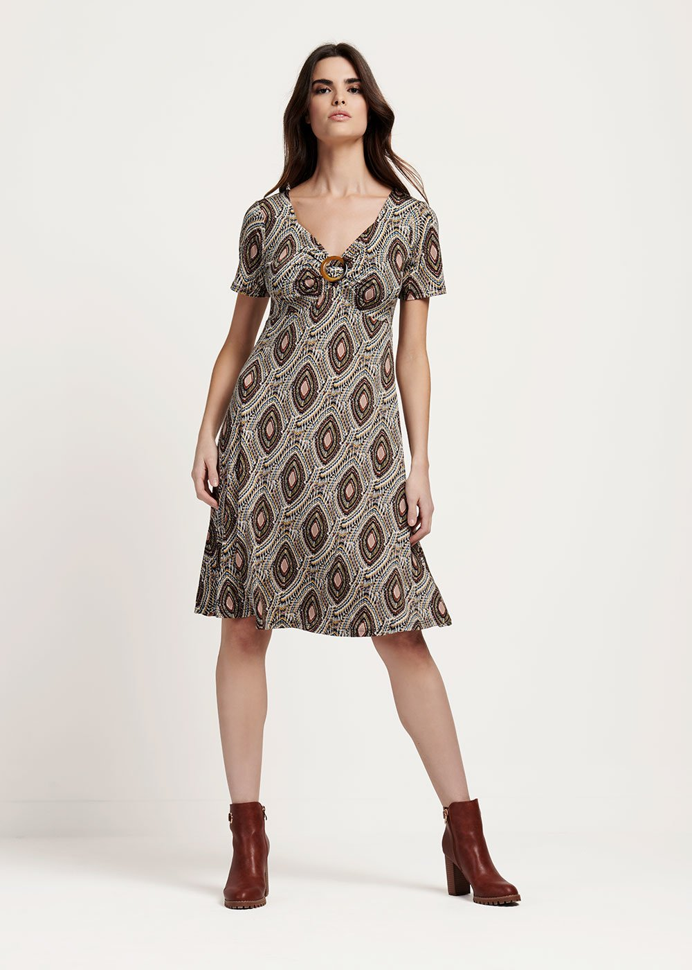 Aleisha v-neck dress with buckle detail - Skin / Cacao-Fantasia - Woman