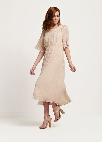 Avril pleated light beige dress
