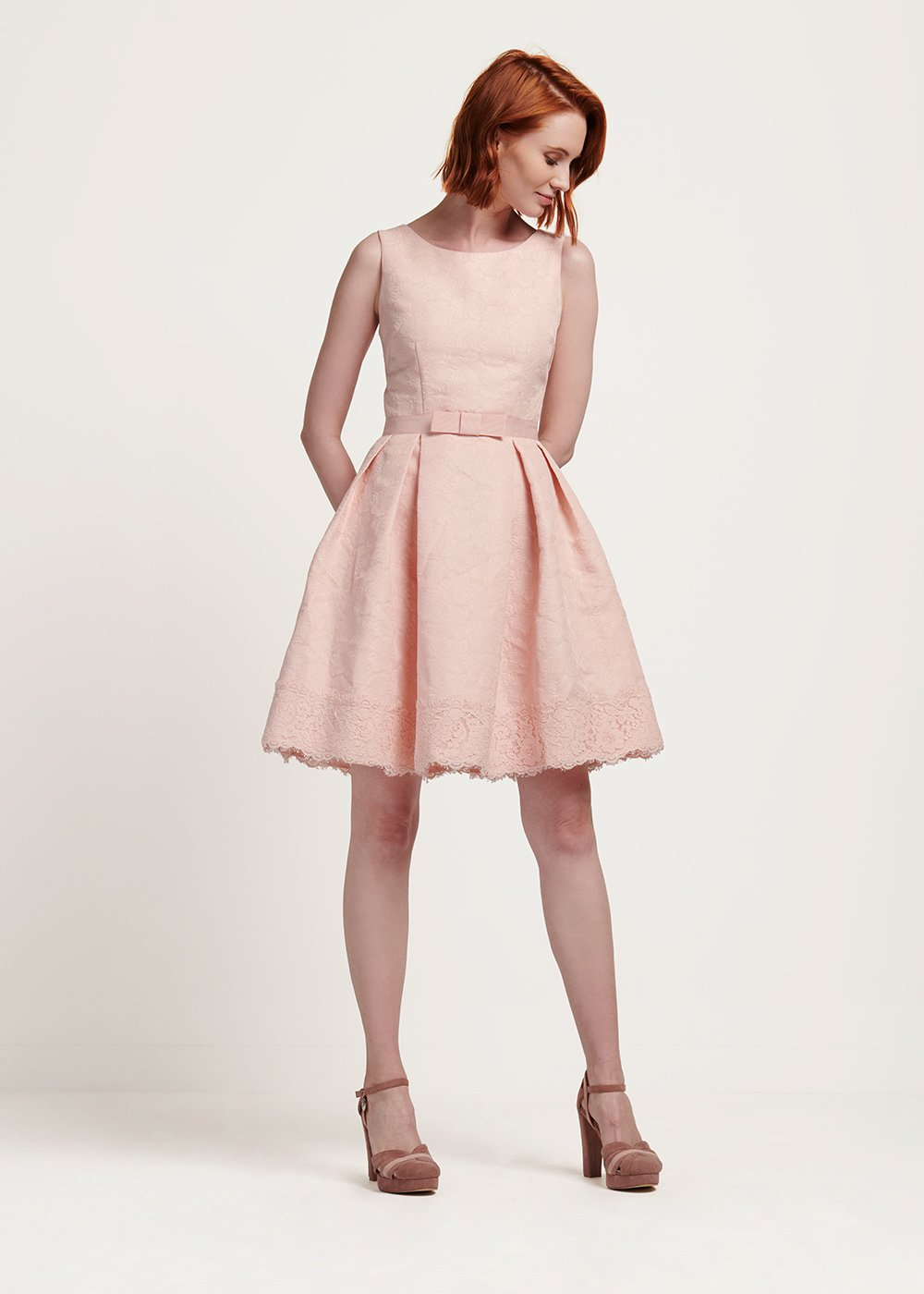 Alex lace dress with waist band - Pink - Woman