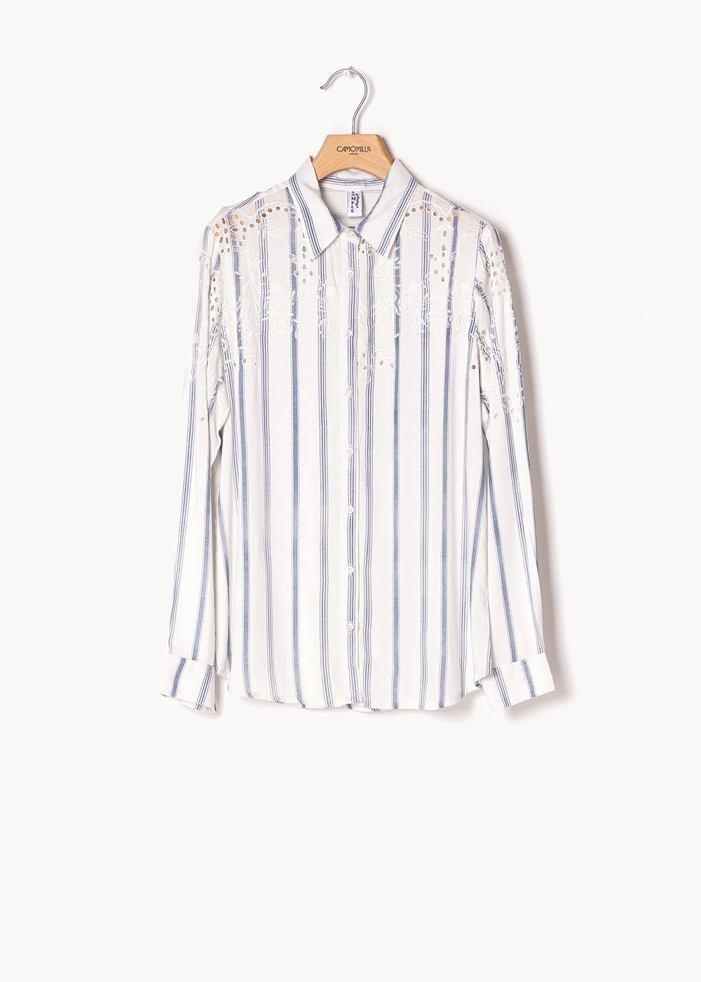 Calyd striped shirt with openwork - White / Avion / Stripes - Woman