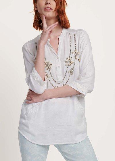 Blusa Coly con ricamo di perle e conchiglie
