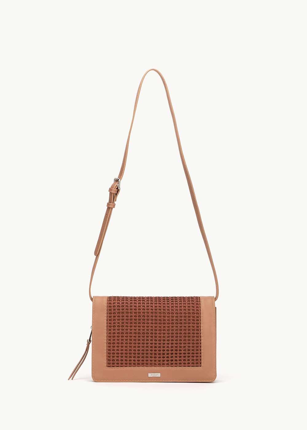 Bardhy shoulder bag with embellished front side - Pecan - Woman