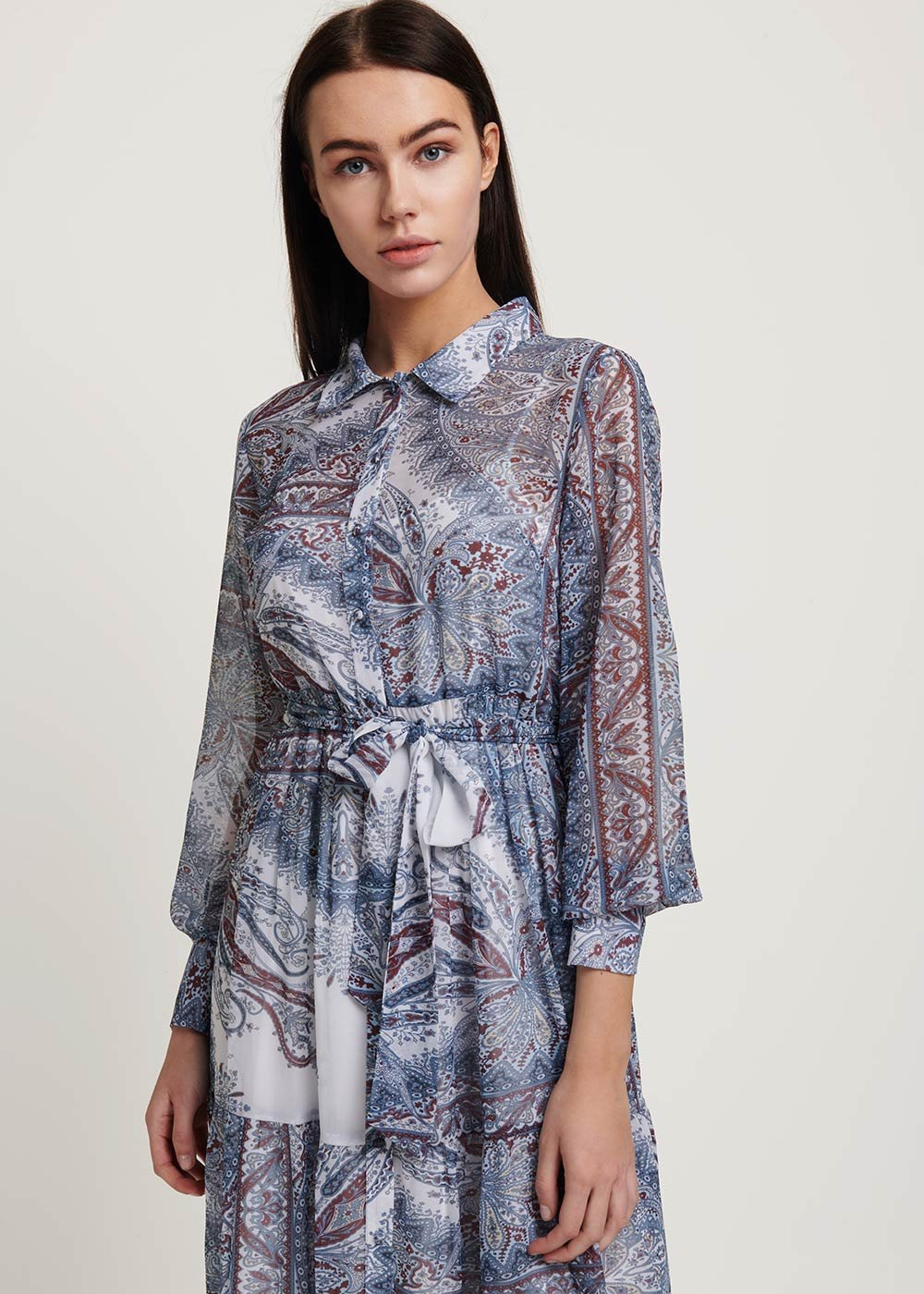 Adriano patterned dress - White\ Avion\ Fantasia - Woman