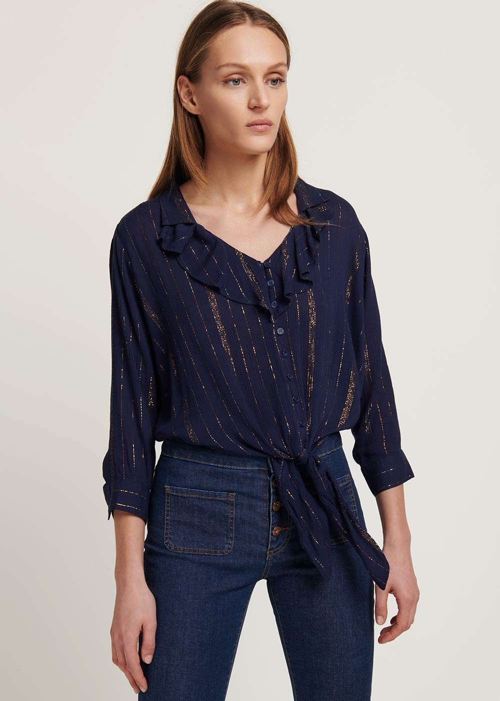 Carola blouse with lurex threads - Medium Blue - Woman
