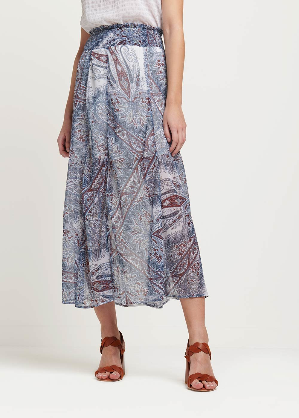 Giuditta all over patterned skirt - White\ Avion\ Fantasia - Woman