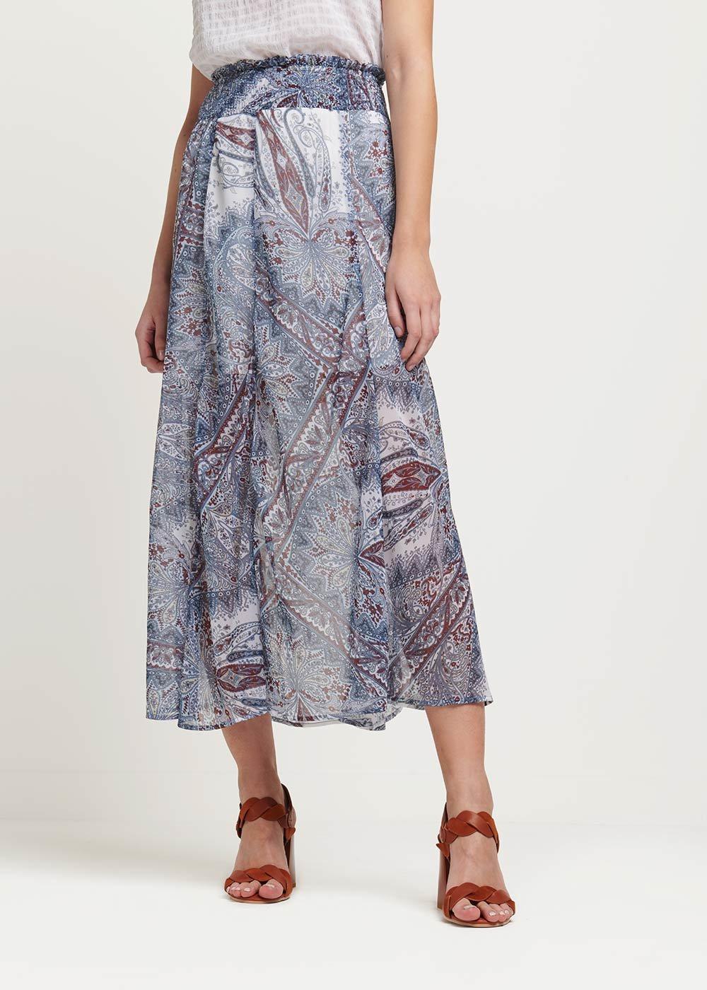 Giuditta all over patterned skirt - White\ Avion\ Fantasia - Woman