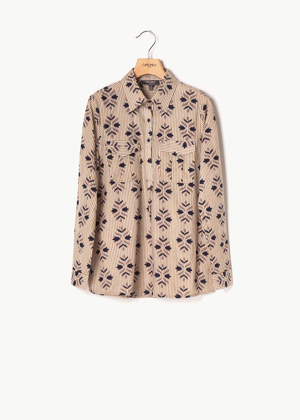 Clea shirt with stripes and flowers pattern - Light Denim / White / Fantasia	 - Woman