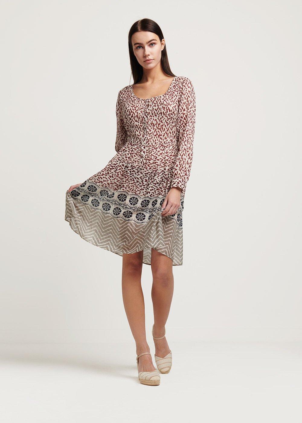 Cleope round neck dress - Beige \ Maracuja \ Fantasia - Woman
