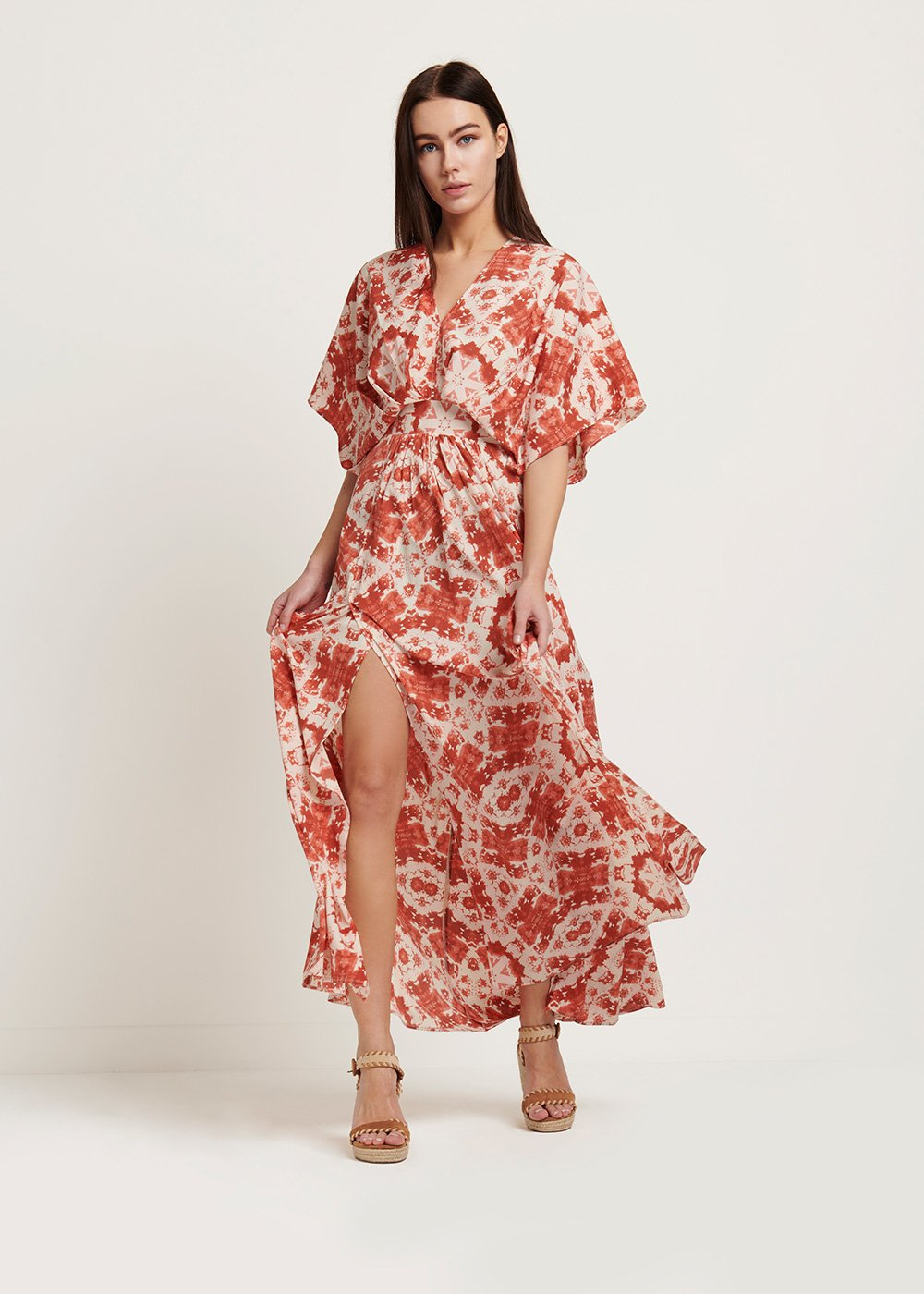Astrid patterned dress - White \ Salmone \ Fantasia - Woman