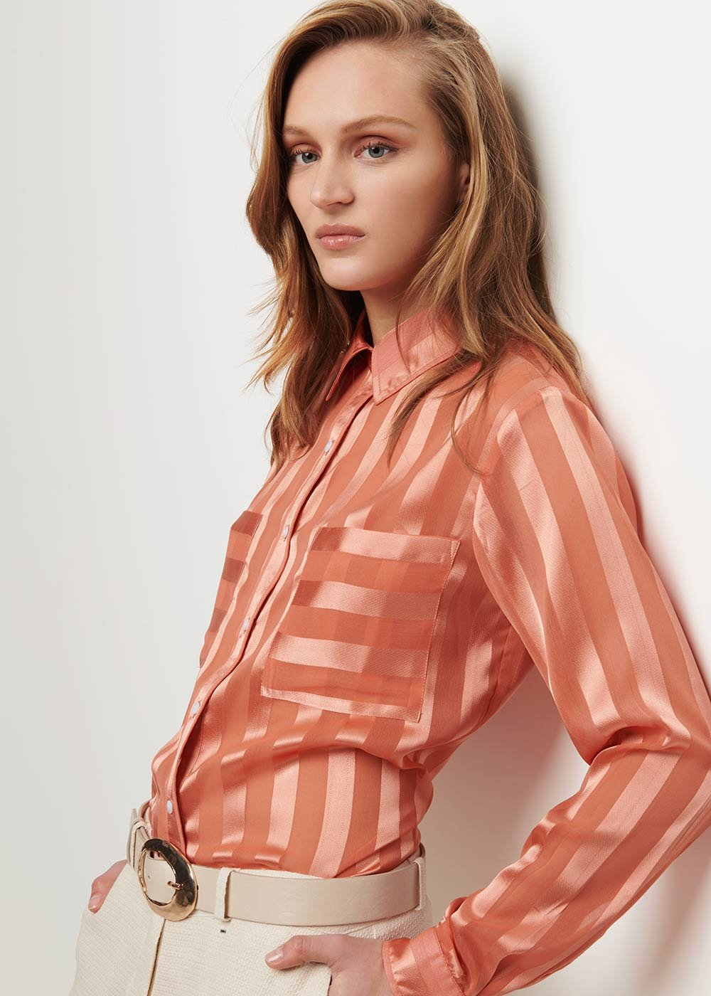 Clid shirt with satin pinstriped effect - Salmon - Woman
