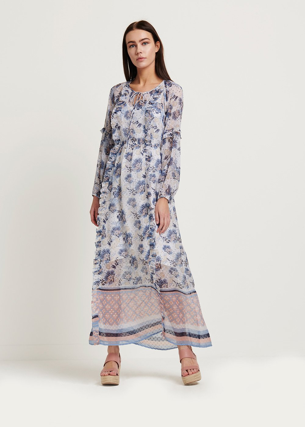 Alessio dress with floral pattern - White\ Avion\ Fantasia - Woman