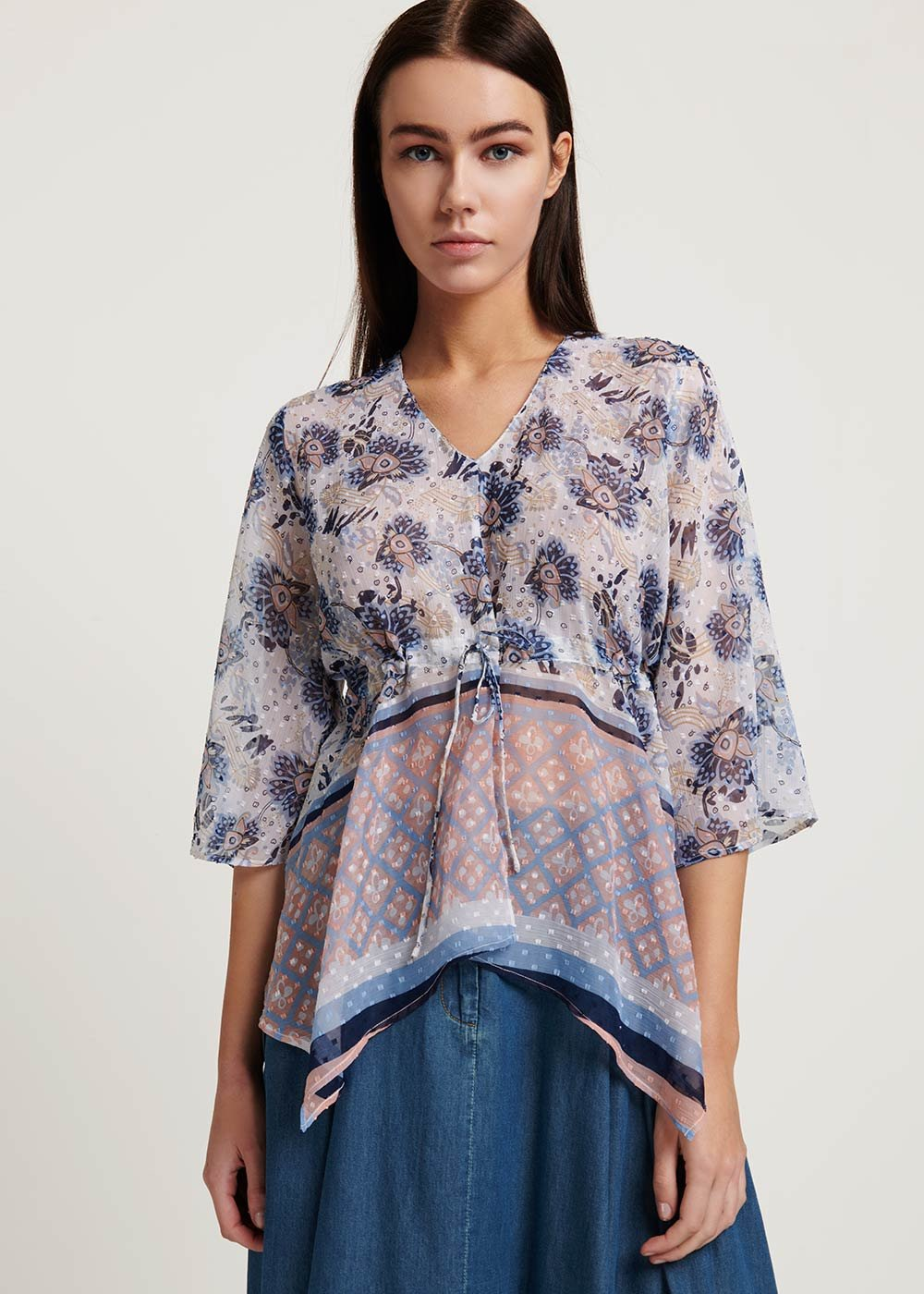 Claudy blouse with floral pattern - White\ Avion\ Fantasia - Woman