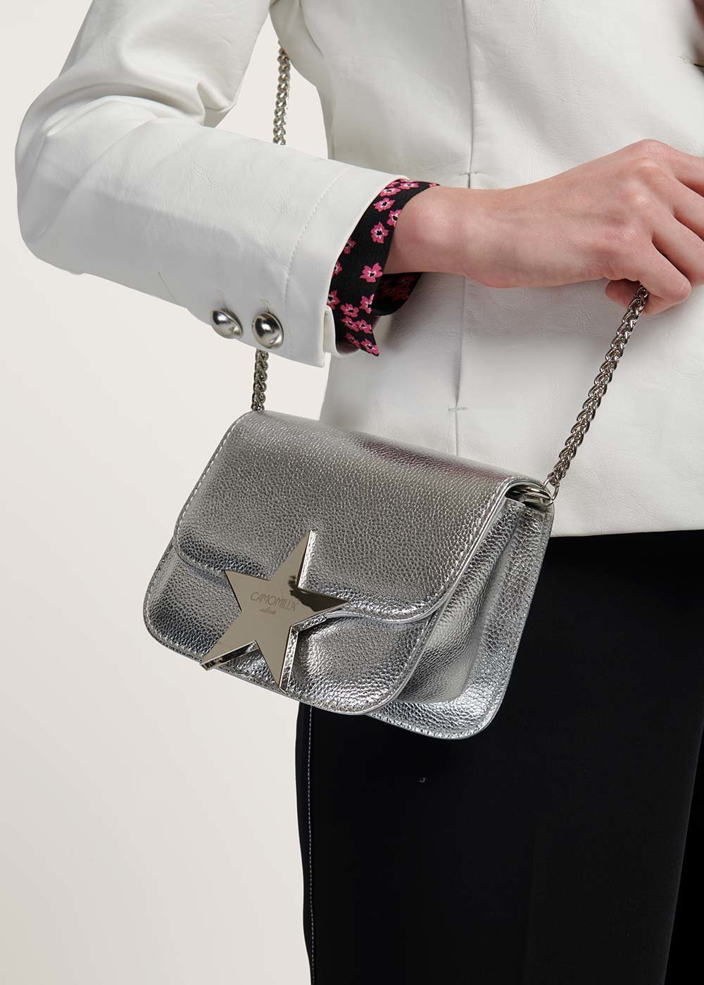 Brandy clutch bag with shoulder strap - Silver - Woman