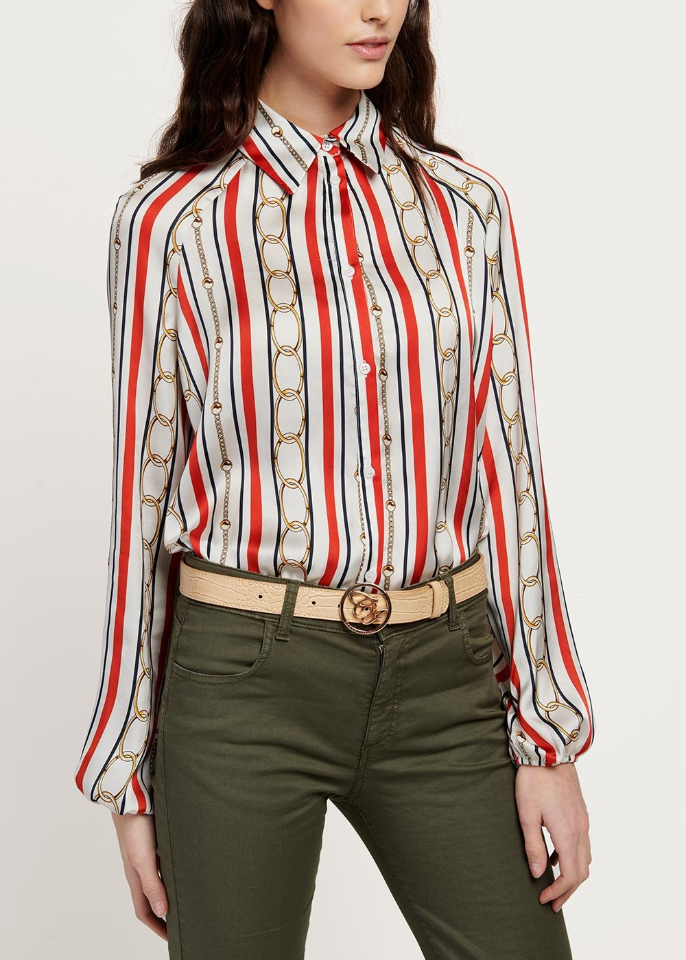 Cristina shirt with stripes and chains pattern - White / Blu / Stripes - Woman