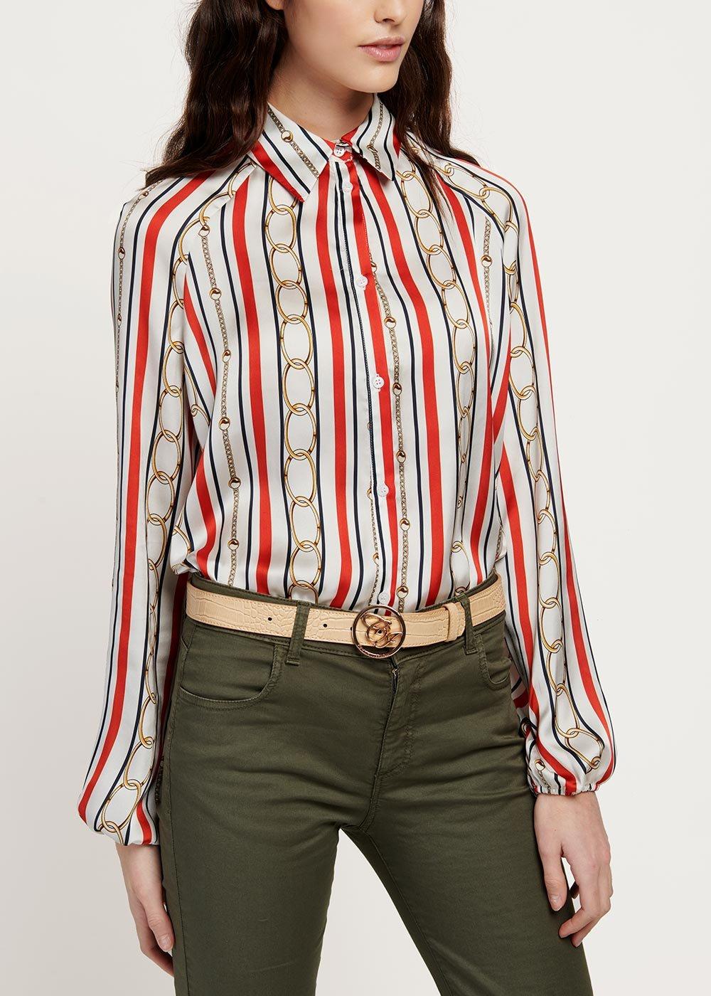 Camicia Cristina fantasia righe e catene - White / Blu / Stripes - Donna