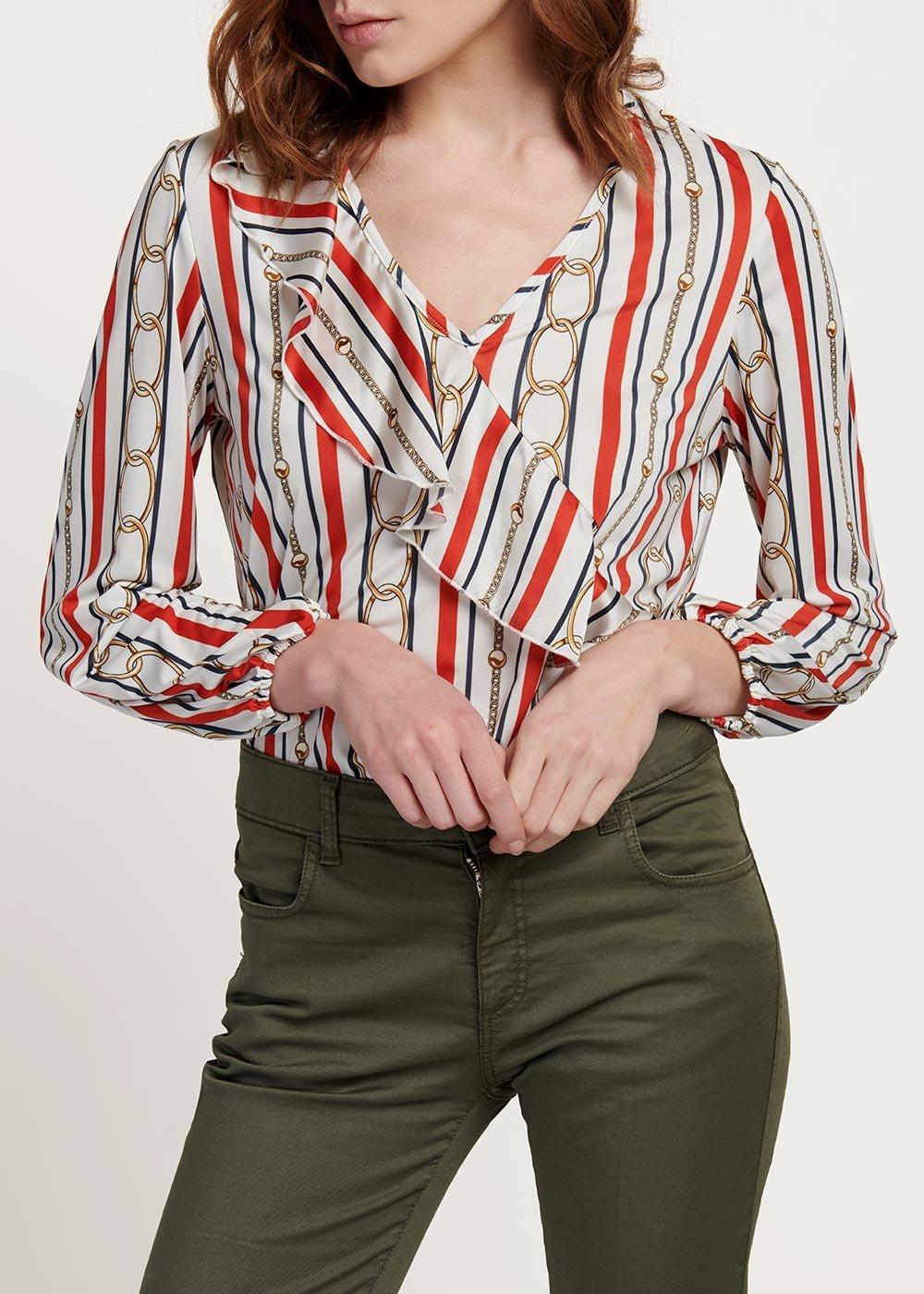T-shirt Carmen fantasia righe e catene - White / Blu / Stripes - Donna