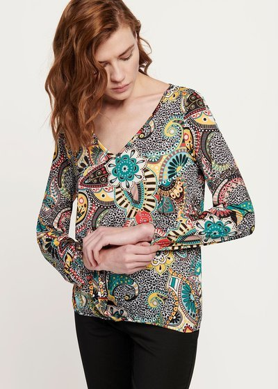 Anna T-shirt with cashmere and spotted pattern
