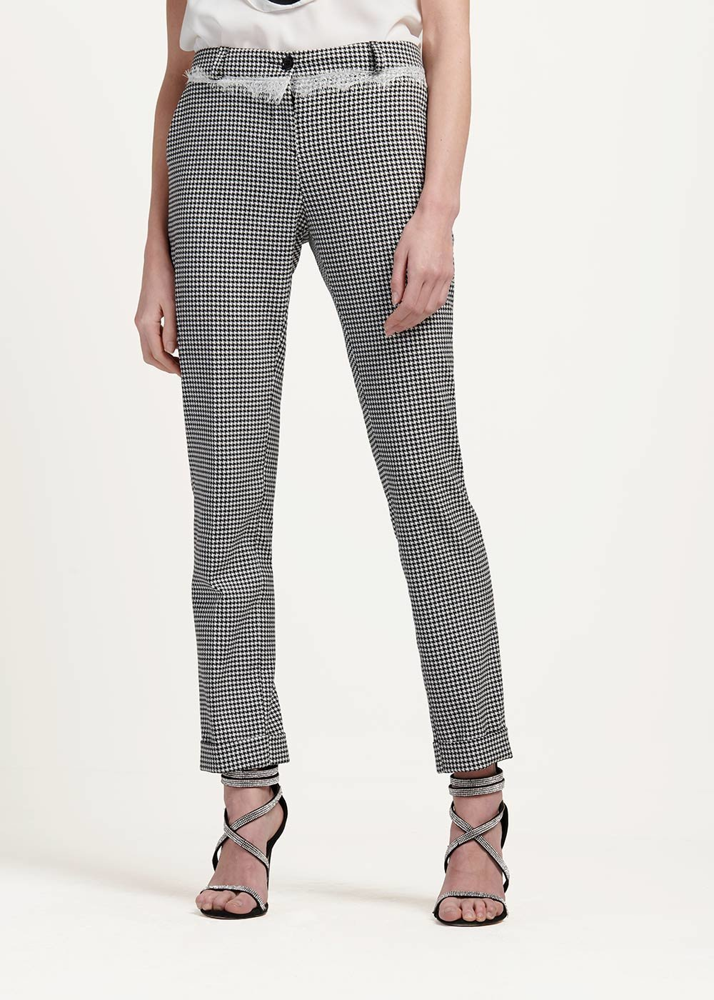 Bella trousers with black&white pattern - White Black Fantasia - Woman