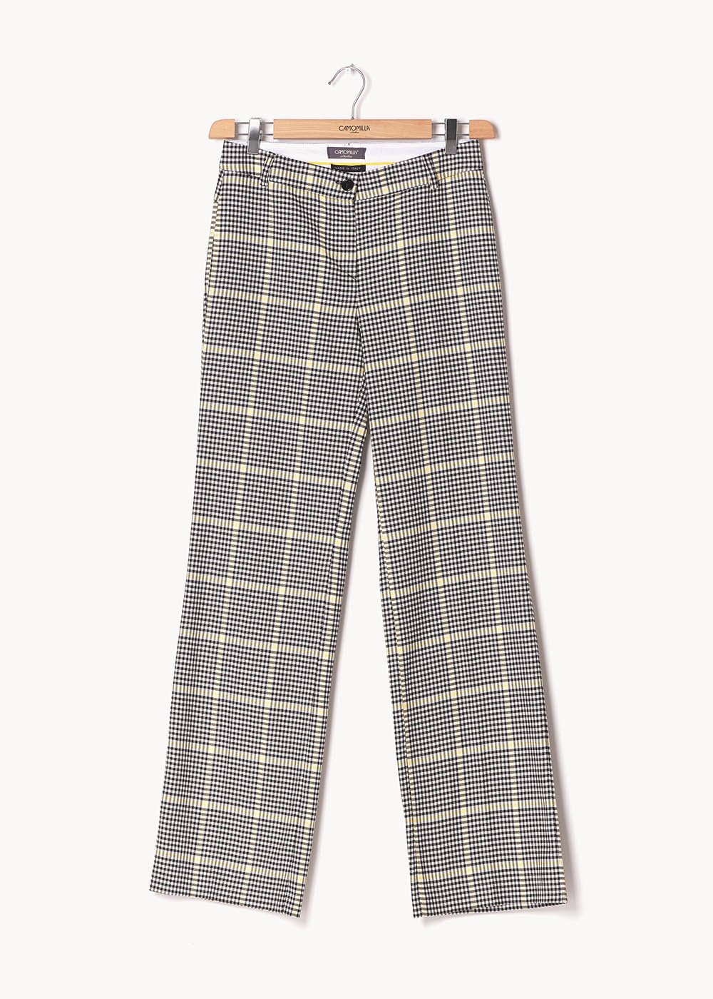 Clair trousers with check pattern - White Black Fantasia - Woman