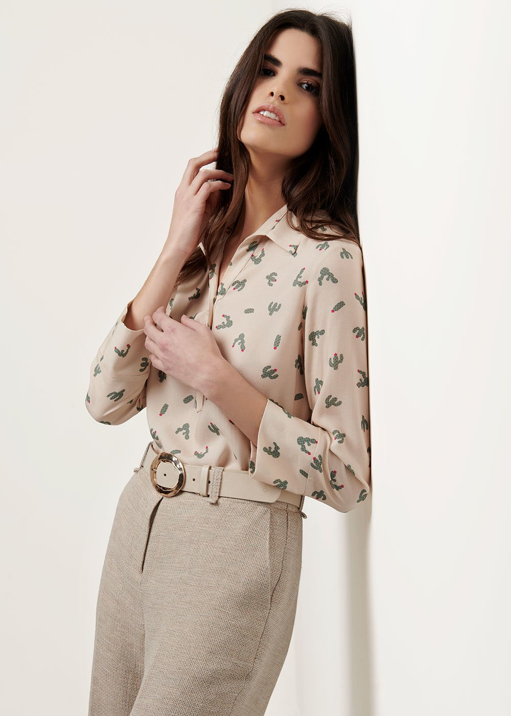 Angela shirt with cactus print - Beige / Timo Fantasia - Woman
