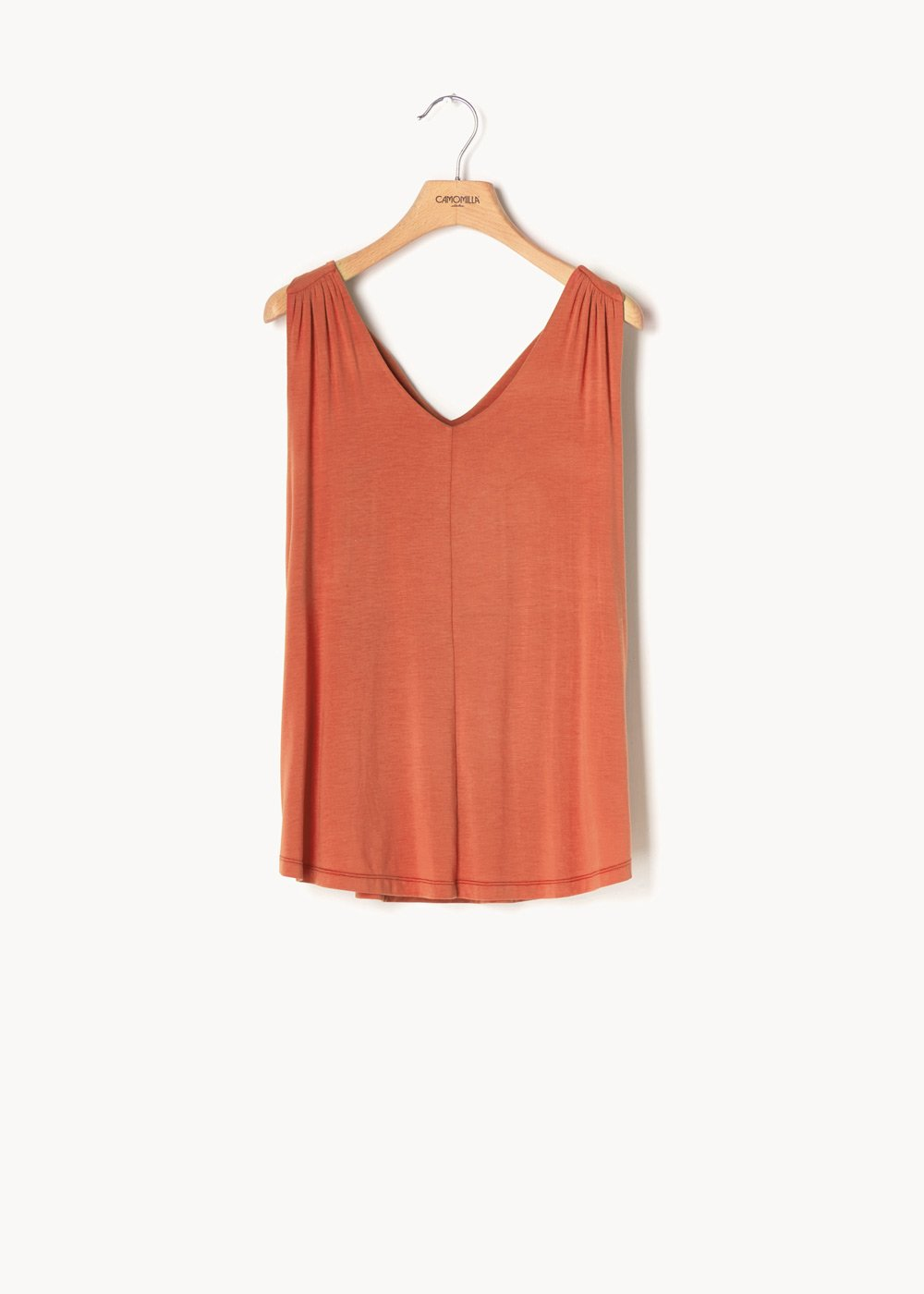 Thery V-neck top - Cinnamon - Woman