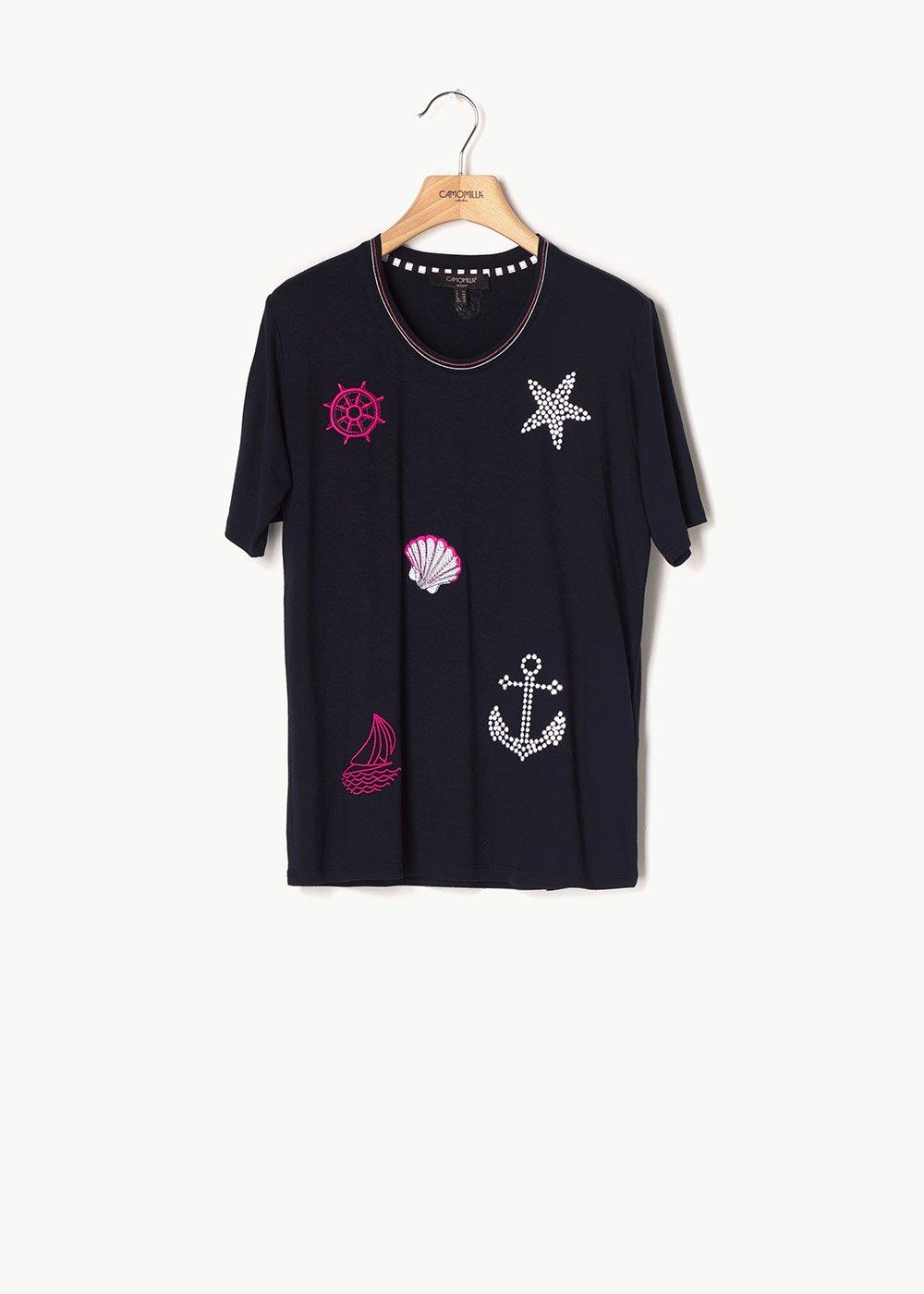 T-shirt Soleil con dettagli marina - Dark Blue - Donna