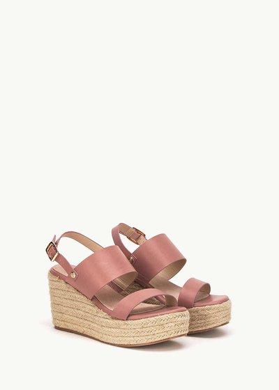 Shey sandal with straw wedge heel