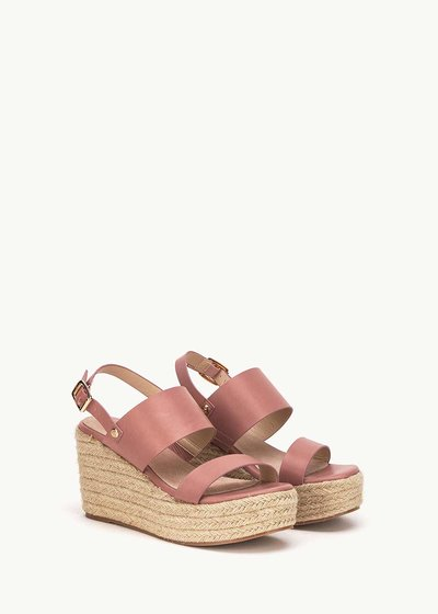 Shey sandal with straw wedge heel