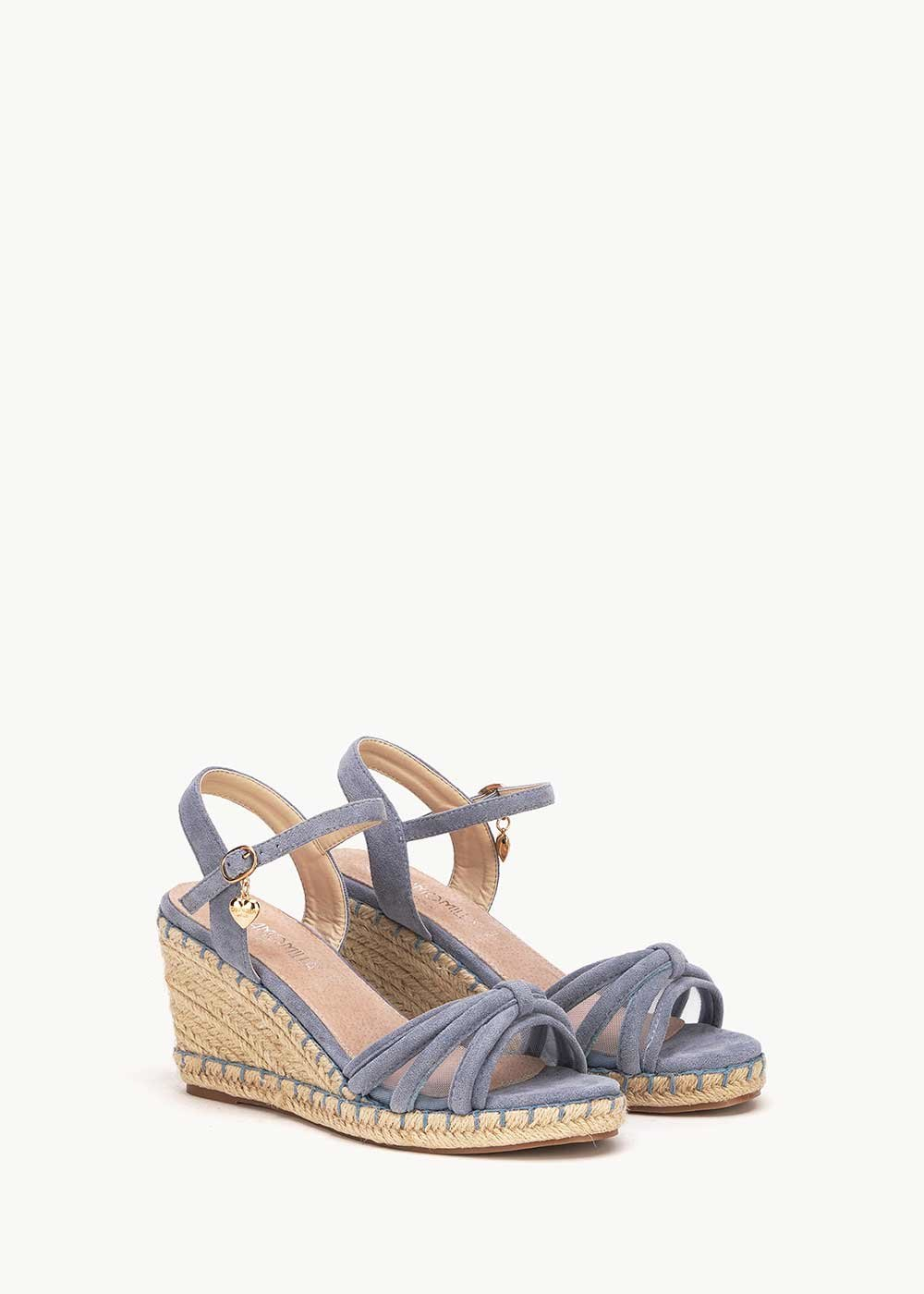 Syd sandal with straw wedge heel - Fog - Woman
