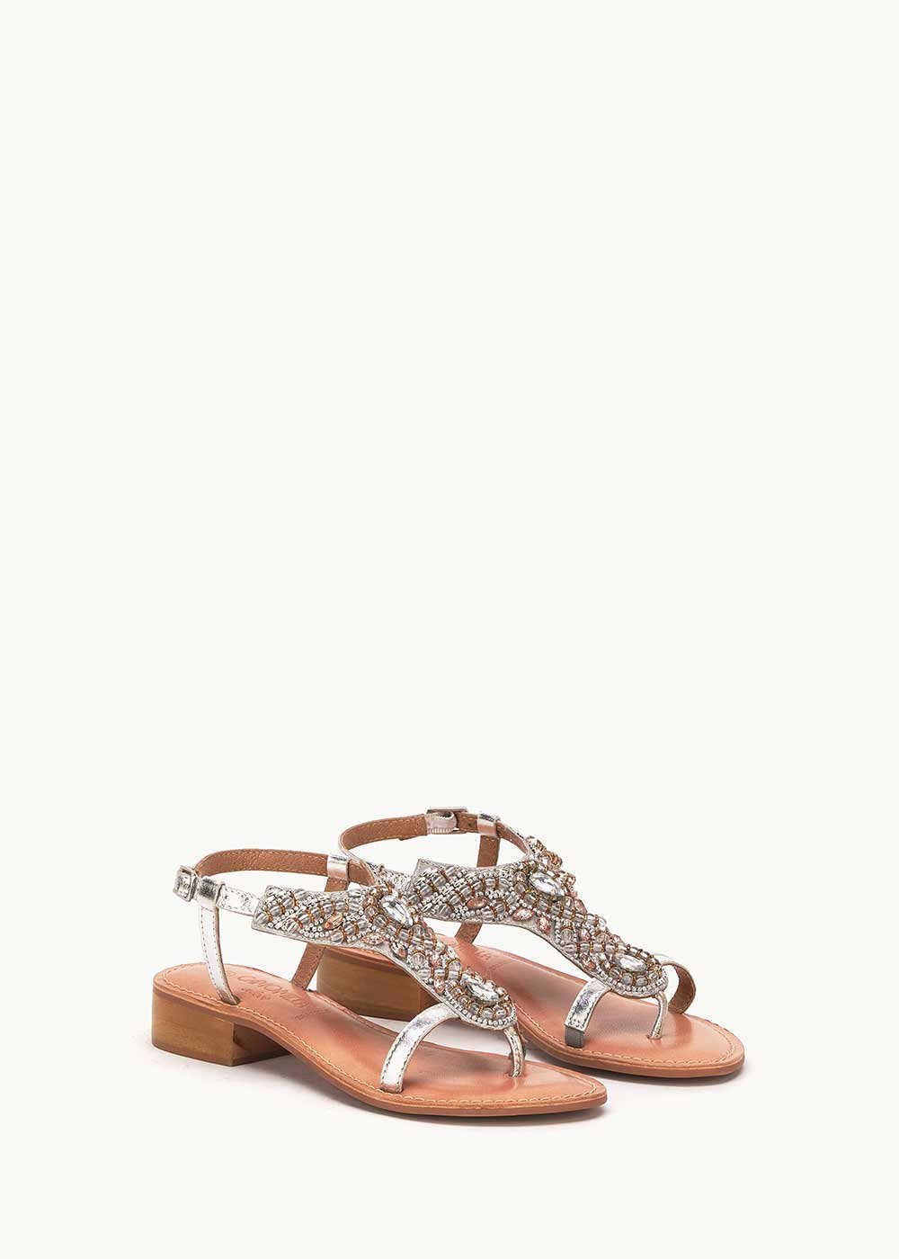 Saemy sandal with detail of crystals and sequins - Silver - Woman