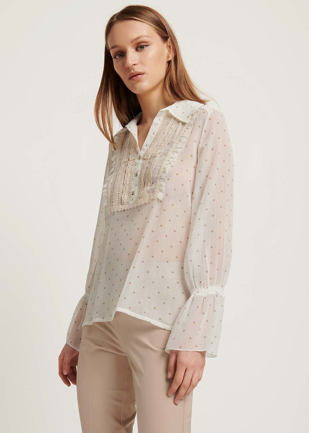 T-shirt Shelia a pois - Off White \ Taupe \ Pois - Donna