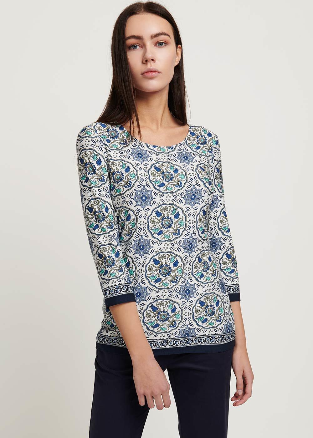 Sheena patterned T-shirt - Avion / White / Fantasia - Woman