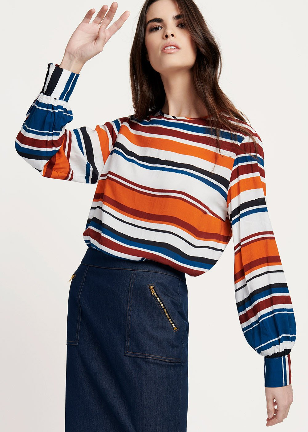 Shayla viscose T-shirt with horizontal stripes patterns - White / Marina Stripes - Woman
