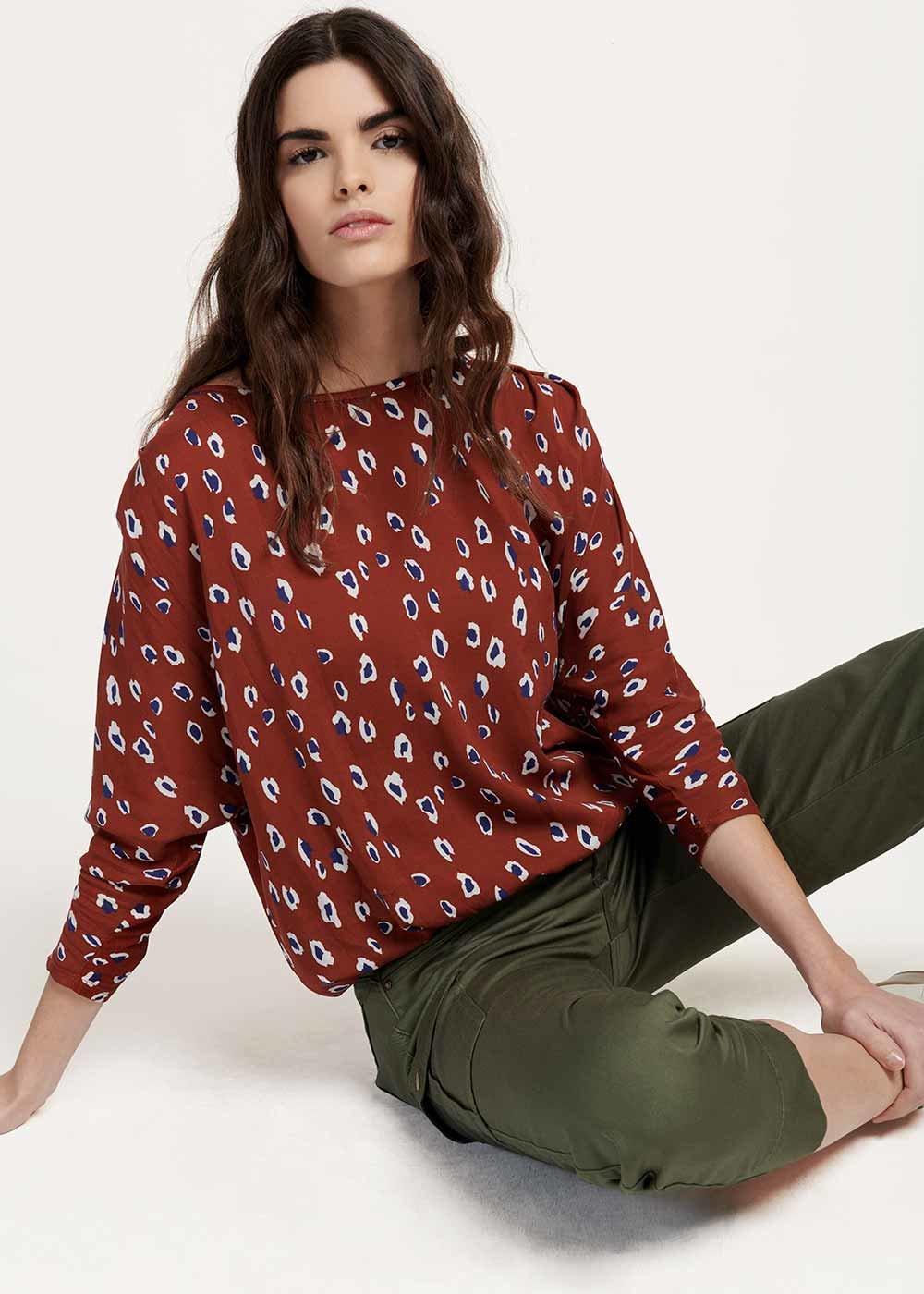 Chiara T-shirt with spotted print - Coccio / Marina Animalier - Woman