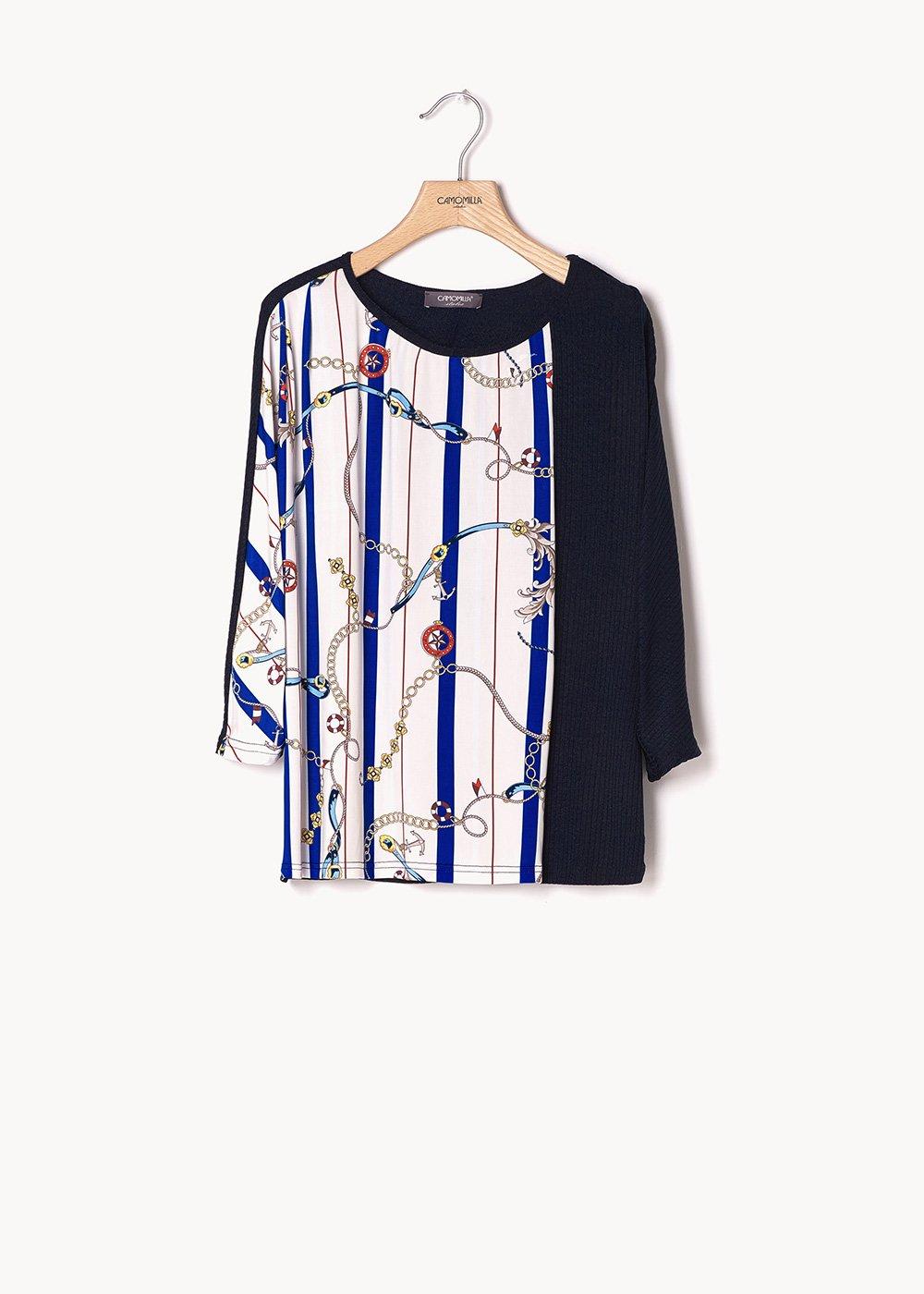 Silvana plain t-shirt with chain pattern - White / Marina Stripes - Woman