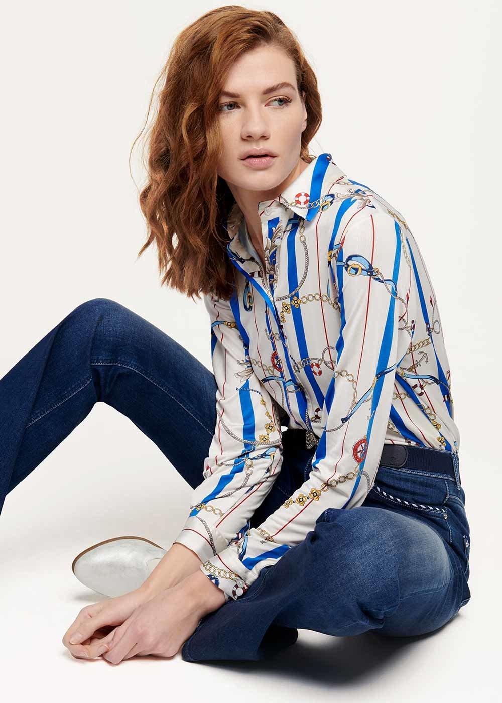 Camicia Crizia stampa catene marine - White / Marina Stripes - Donna